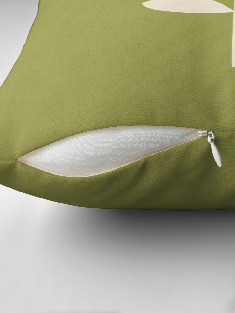 Alternate view of Retro Tulip - Orange and Olive Green Throw Pillow