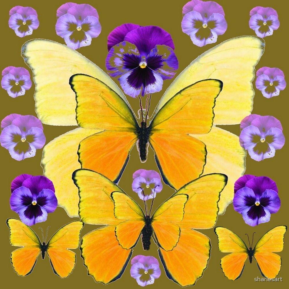 SPRING PURPLE PANSY FLOWERS & YELLOW BUTTERFLIES  by sharlesart