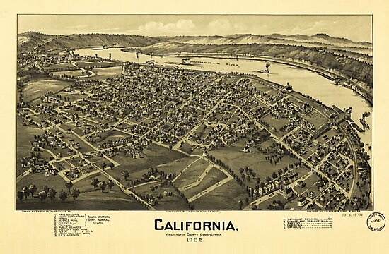 Aerial View of California, Pennsylvania by T.M. Fowler (1902) by allhistory