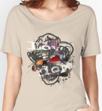 Skulls Love Is Dope Graphic Print Swag  Women's Relaxed Fit T-Shirt