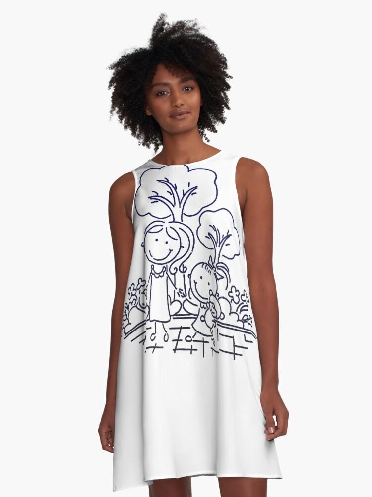 Cartoon Blue A-Line Dress Front