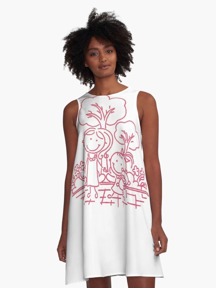Cartoon Pink A-Line Dress Front