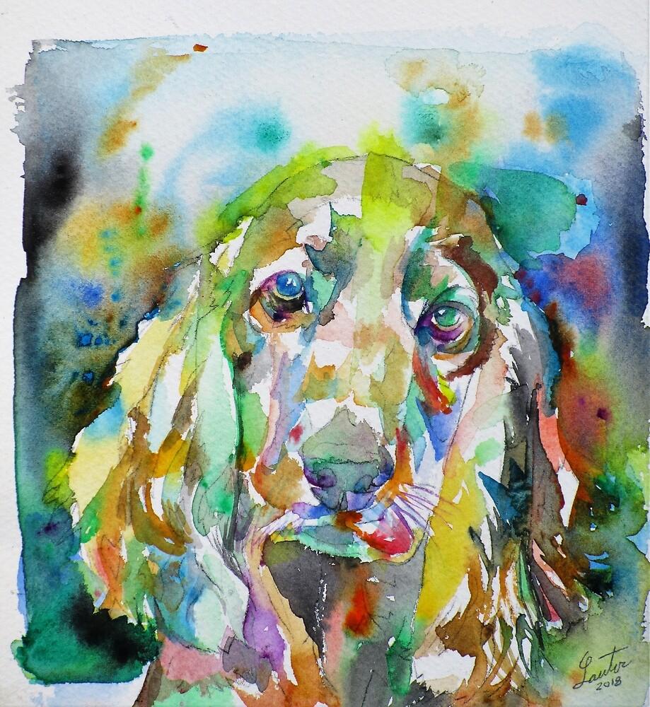 COCKER - watercolor portrait by lautir