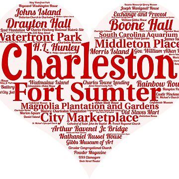 Heart of Charleston, SC Heart Word Cloud Products by Mel747
