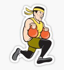 Crossfit Runner With Kettlebell Cartoon Sticker