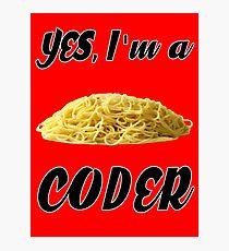 Yes, I'm a Coder - Spagghetti Code Photographic Print