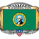 Washington Art Deco Design with Flag by Cleave