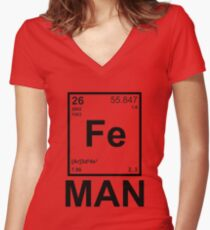 Fe (Iron) Man Women's Fitted V-Neck T-Shirt