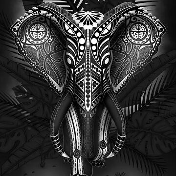 Black Tribal Maori Elephant by Efembe