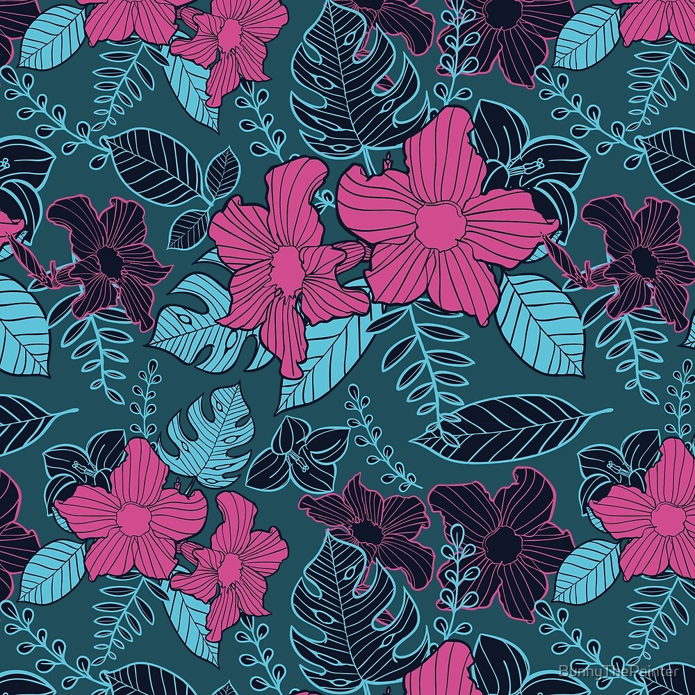 Modern Bold Jungle Floral Pattern Memphis Style by BunnyThePainter