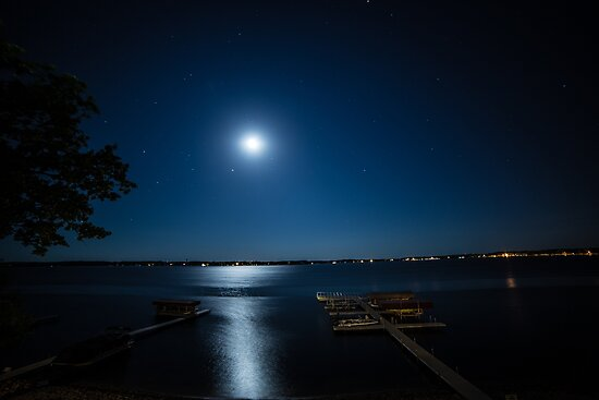 Moon over Lake  by Chris Mourra