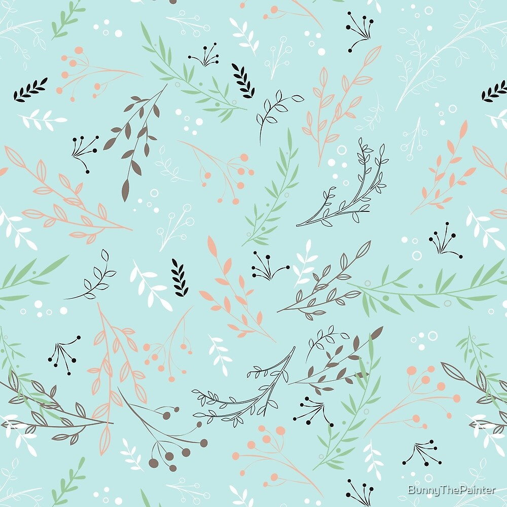 Light And Lovely Spring Floral Garden Pattern by BunnyThePainter