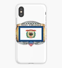 West Virginia Art Deco Design with Flag iPhone Case/Skin