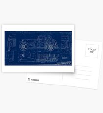 MG TC Blueprint Diagram Postcards