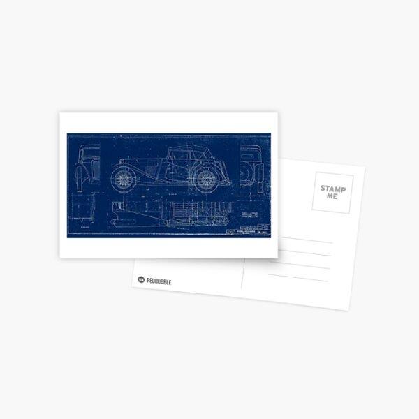 MG TC Blueprint Diagram Postcard