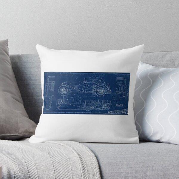 MG TC Blueprint Diagram Throw Pillow