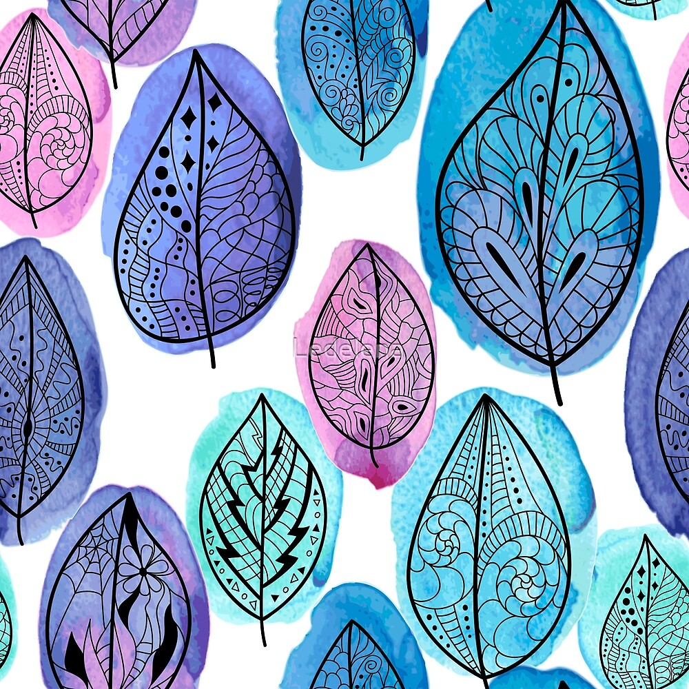 Seamless pattern with handdrawn leaves on watercolor background by Ledelena