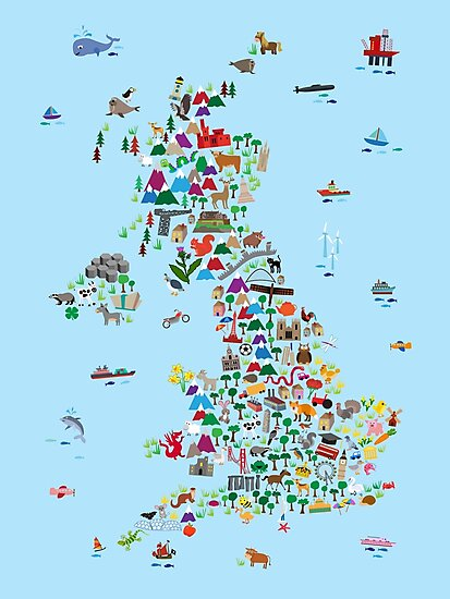 Animal Map of Great Britain & NI for children and kids by Michael Tompsett