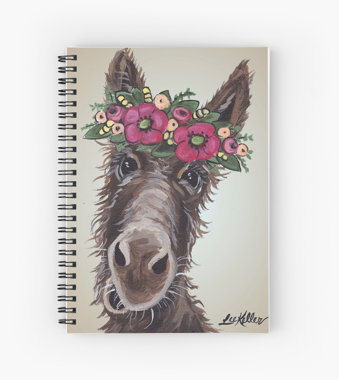 Donkey Art Donkey With Flower Crown Art Spiral Notebooks By
