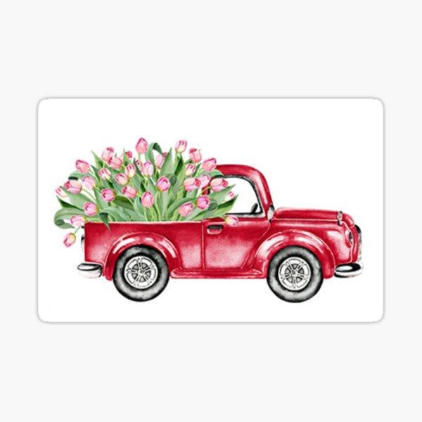 Watercolor Vintage Red Truck Valentine Tulips Sticker