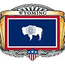 Wyoming Art Deco Design with Flag by Cleave
