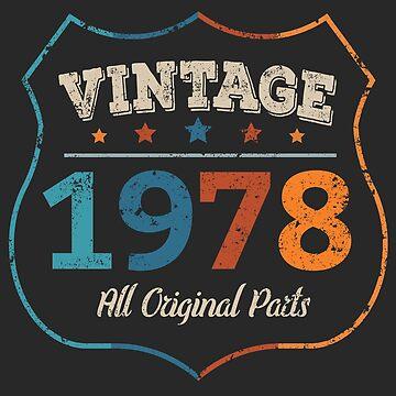 Vintage 1978 40th Birthday Retro Cool Grunge Tee by Sid3walkArt