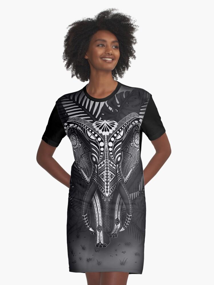 Black Tribal Maori Elephant Graphic T-Shirt Dress Front