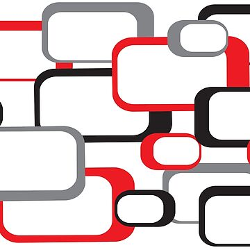 Retro Square Pattern Black Red Gray White  by ValeriesGallery