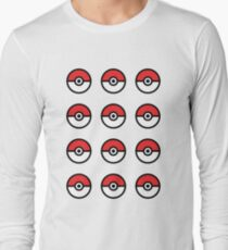 Pokeball Pattern Long Sleeve T-Shirt