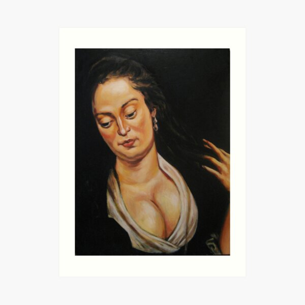 woman with mirror, after Rubens Art Print