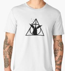 HP Hallows - The tale of 3 brothers (another version) with bats - wand, cloak, stone Men's Premium T-Shirt