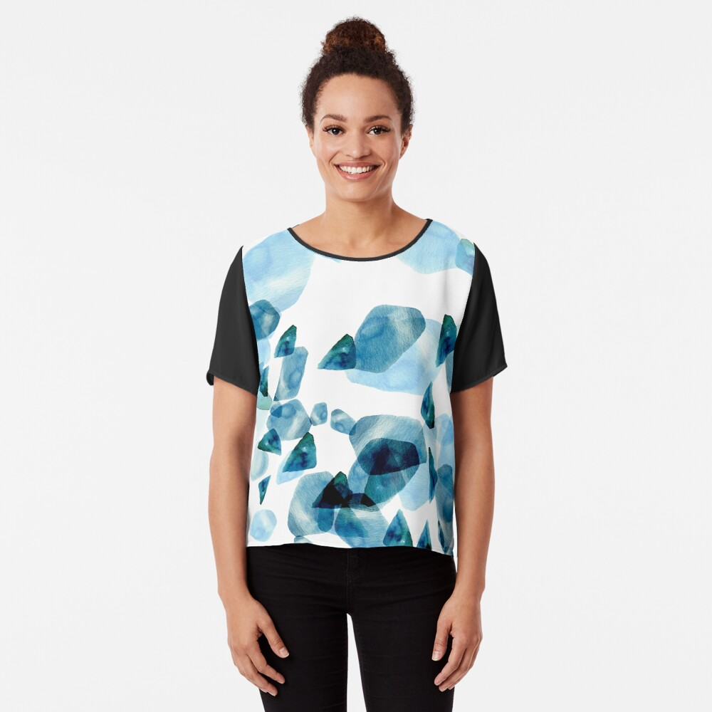 Watercolor Sea Pebbles   Hand Painted Pattern Women's Chiffon Top Front