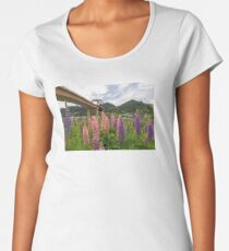Lupine flowers blooming along Columbia River under Sauvie Island Bridge Summer season Women's Premium T-Shirt