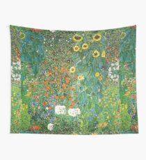 HD Country Garden With Sunflowers , by Gustav Klimt 1905-06 HIGH DEFINITION Wall Tapestry