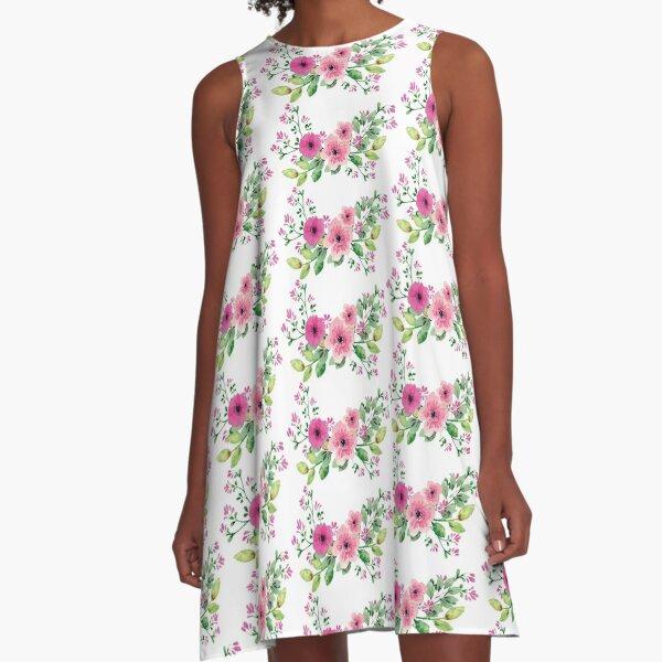 Best pink floral bouquet A-Line Dress