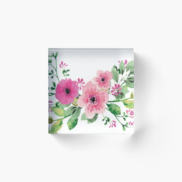 Best pink floral bouquet Acrylic Block