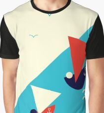 Suprematism styled nautical illustration: summer sail boat racing Graphic T-Shirt