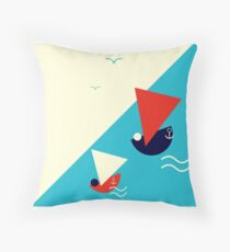 Suprematism styled nautical illustration: summer sail boat racing Throw Pillow