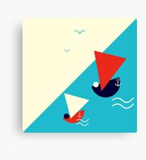 Suprematism styled nautical illustration: summer sail boat racing Canvas Print
