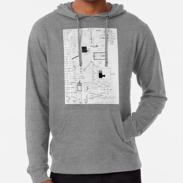 Physics Prints,  Speed, way distance, time, acceleration, velocity, displacement, acceleration, force, weight, period, radius Lightweight Hoodie
