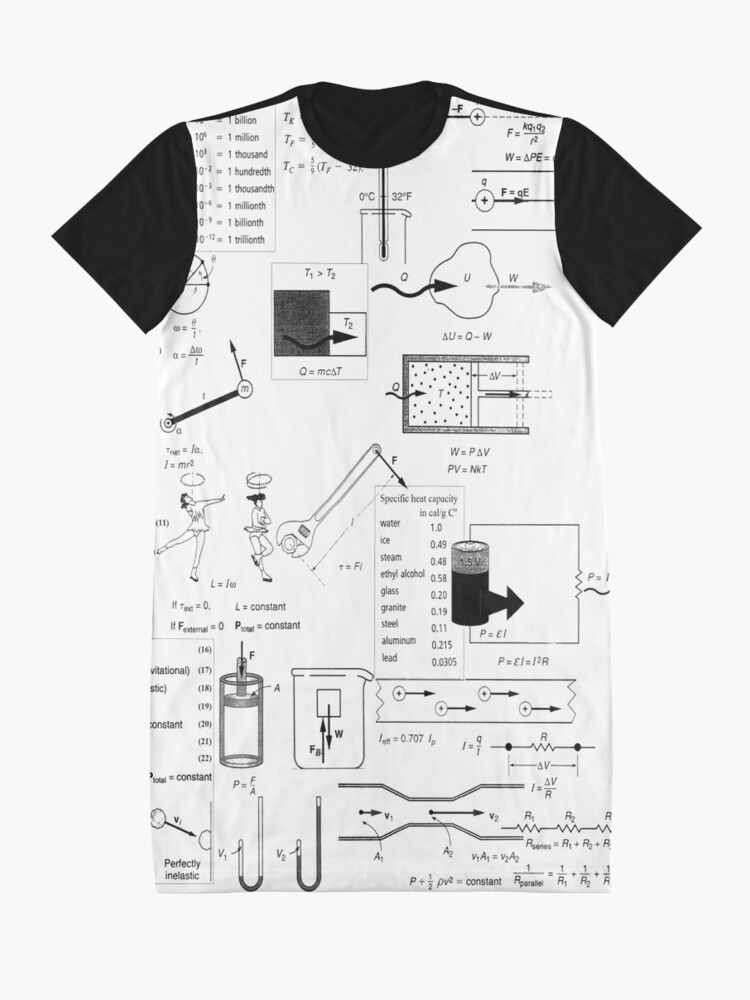 Alternate view of Speed, way distance, time, acceleration, velocity, displacement, acceleration, force, weight, period, radius Graphic T-Shirt Dress