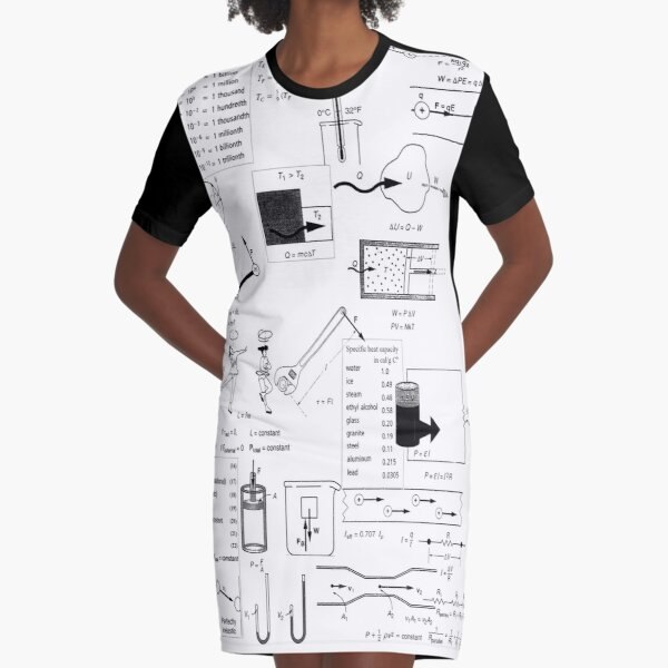 Speed, way distance, time, acceleration, velocity, displacement, acceleration, force, weight, period, radius Graphic T-Shirt Dress