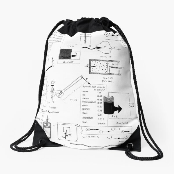Speed, way distance, time, acceleration, velocity, displacement, acceleration, force, weight, period, radius Drawstring Bag