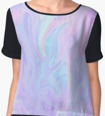 Pink Holographic Pastel Color Print Chiffon Top