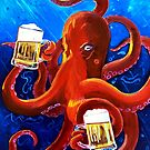 Octopus Painting, Red Octopus Drinking Beer, Animals and Beer, Octopus Art, Dining Room Painting, Funny Beer Poster, Man Cave Bar Beer Decor by Scott Clendaniel