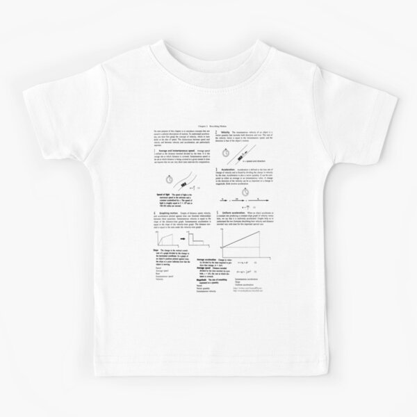 Concepts, speed, change, slope, velocity,  Acceleration, instantaneous, motion Kids T-Shirt