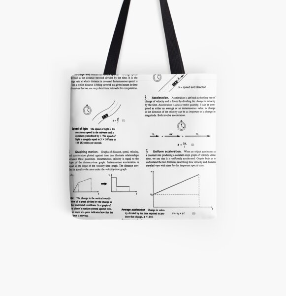 Concepts, speed, change, slope, velocity,  Acceleration, instantaneous, motion All Over Print Tote Bag