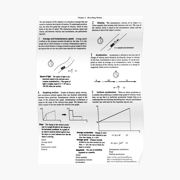 Concepts, speed, change, slope, velocity,  Acceleration, instantaneous, motion Poster