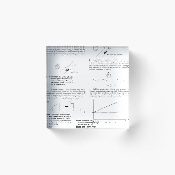 Physics Prints,  Concepts, speed, change, slope, velocity, Acceleration, instantaneous, motion Acrylic Block
