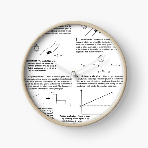 Physics Prints, Concepts, speed, change, slope, velocity, Acceleration, instantaneous, motion Clock